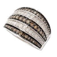 Sterling Silver 1ct TDW Champagne and White Multi-row Pave Diamond Ring