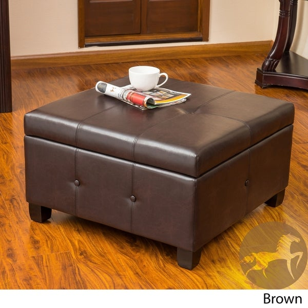 Hudson Contemporary Button Tufted Storage Ottoman by Christopher Knight Home