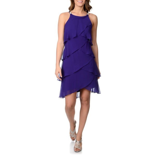 S.L Fashions Women's Royal Jolly Multi-tiered Cocktail Dress