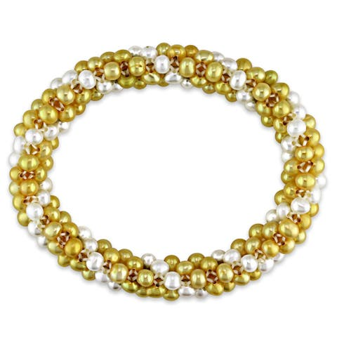 Miadora Champagne Pistachio and White Cultured Freshwater Pearl Elastic Bracelet (4-5 mm)