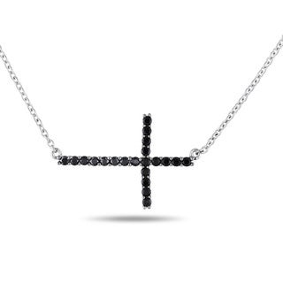 Miadora Sterling Silver Black Spinel Sideways Cross Necklace