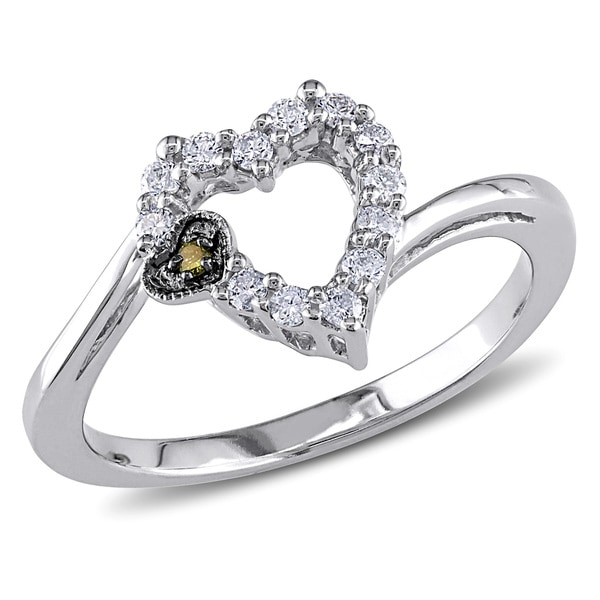 Miadora 14k White Gold 1/5ct TDW Yellow and White Diamond Heart Ring