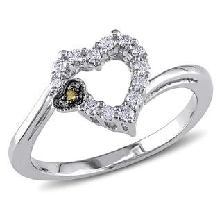 Miadora 14k White Gold 1/5ct TDW Yellow and White Diamond Heart Ring