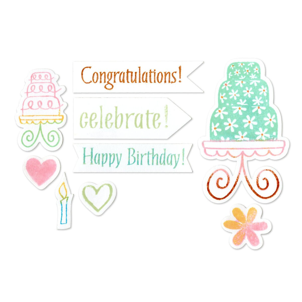 Sizzix Framelits Birthday Cake Die Set with Stamps (12 Pa...