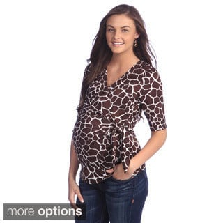 Ashley Nicole Maternity Women's Printed Faux Wrap Top