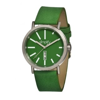 Simplify Men's '0404 The 400' Green Leather Strap Watch