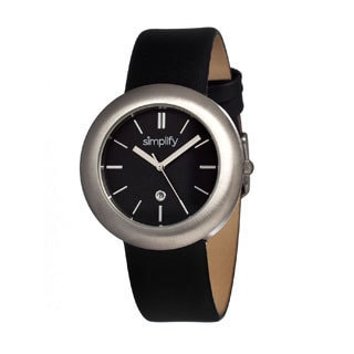 Simplify '0902 The 900' Black Leather Strap Black Dial Watch