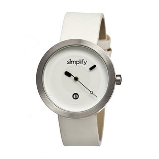 Simplify '0303 The 300' White Leather Strap Watch