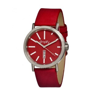 Simplify '0403 The 400' Red Leather Strap Watch