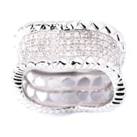 Sterling Silver 1/2ct TDW Pave Texture Edge Diamond Heart Band Ring