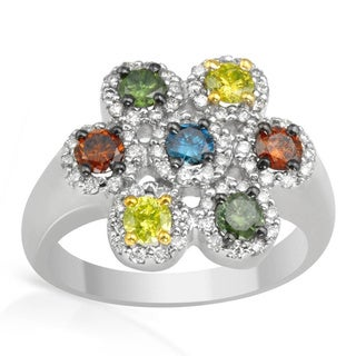 14K White Gold 1/2ct TDW Multi Color Diamond Ring
