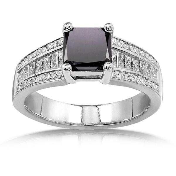 Annello by Kobelli 14k White Gold 2 5/8ct TDW Princess Black and White Diamond Ring (H-I,