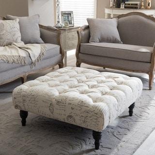Baxton Studio Keswick Patterned Linen Modern Tufted Ottoman