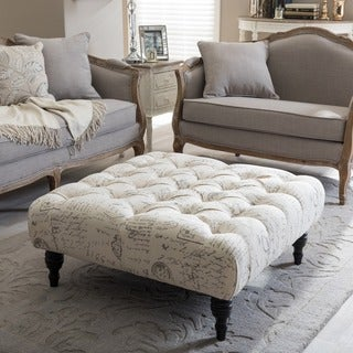 Gracewood Hollow Clare Patterned Linen Modern Tufted Square Ottoman