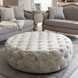 The Gray Barn Daisy Patterned Linen Modern Tufted Round Ottoman