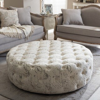 Gracewood Hollow Clare Patterned Linen Modern Tufted Round Ottoman