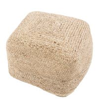 "Havenside Home Cape May Modern Beige Cylindrical Shape Jute Pouf (18""x18""x12"")"