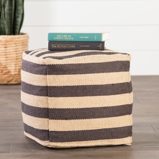 Modern Beige/ Black Cube Shape Wool Pouf