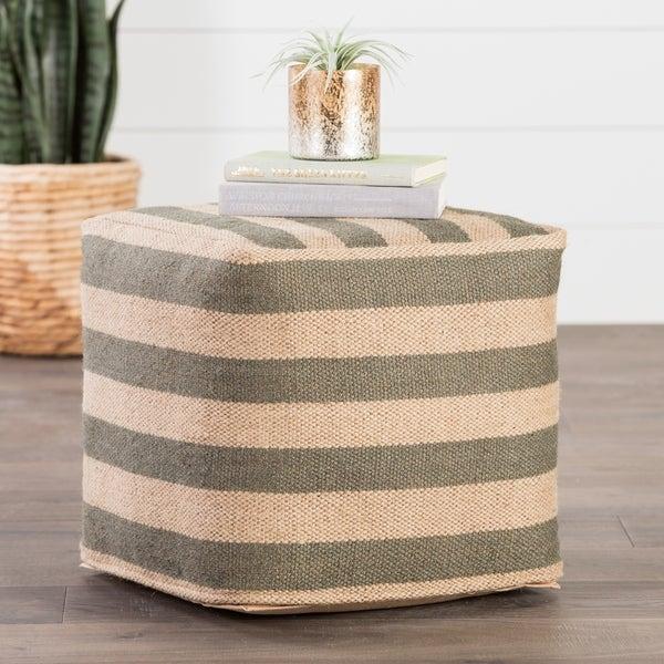 Modern Beige/Gray Cube Shape Wool Pouf