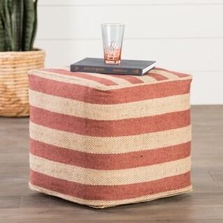 Modern Beige/ Red Cube Shape Wool Pouf