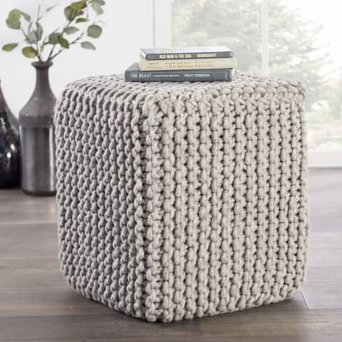 Modern Gray Cube Shape Wool Pouf