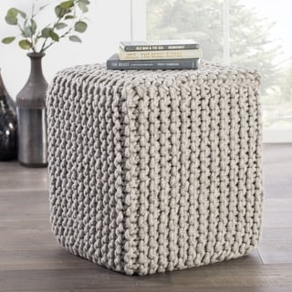 "Modern Gray Cube Shape Wool (16""x18""x18"") Pouf"