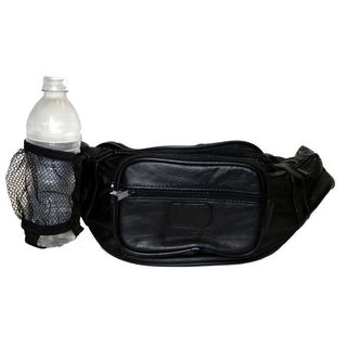 Hollywood Tag Black Leather Fanny Pack with Bottle Holder