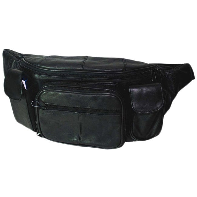 Hollywood Tag Extra Large Black Leather Fanny Pack (Black)