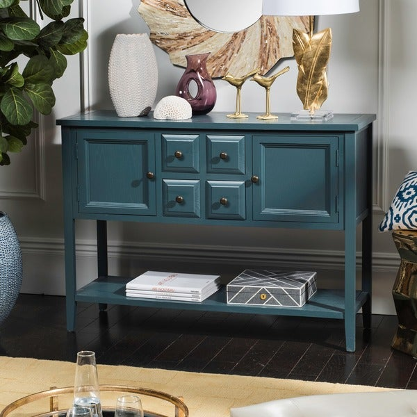 Shop Safavieh Charlotte Slate Teal Storage Sideboard Free Shipping Today Overstock 8692320