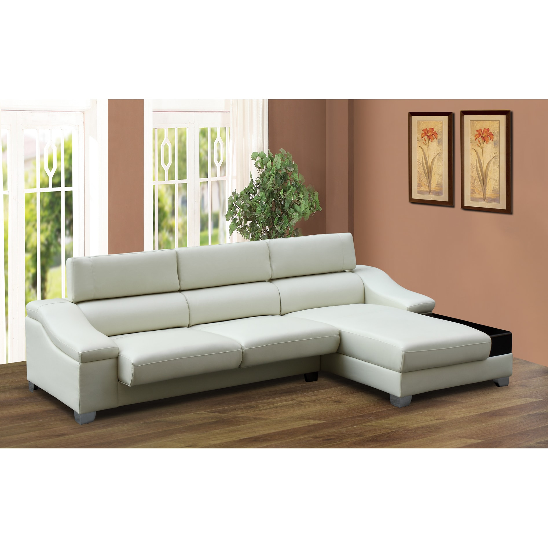 New Miller 2 piece Ivory Modern Bonded Leather Sectional sofa Set
