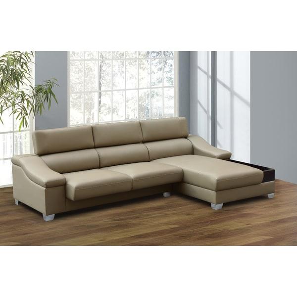 Bon Miller 2 Piece Dark Beige Modern Bonded Leather Sectional Sofa Set