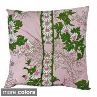 Hand-printed 20-inch Tufted Daisy Accent Pillow
