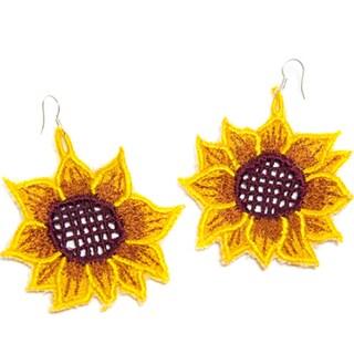 Handmade Sunflower Fabric Earrings (Mexico)