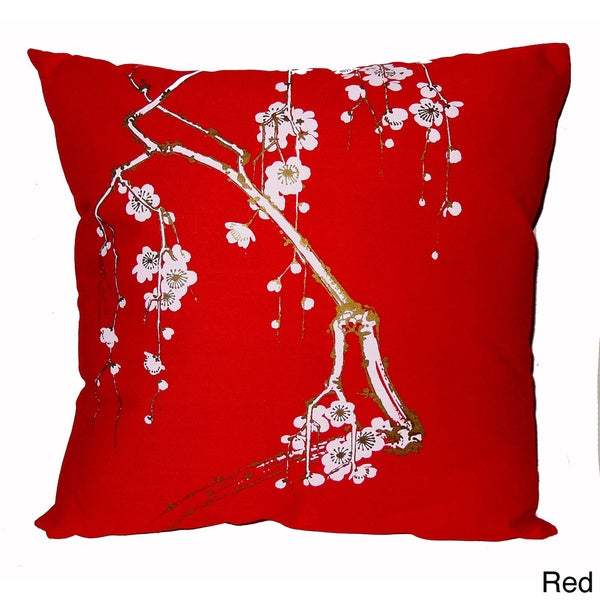 Hand-printed 20-inch Cherry Blossom Accent Pillow. Opens flyout.