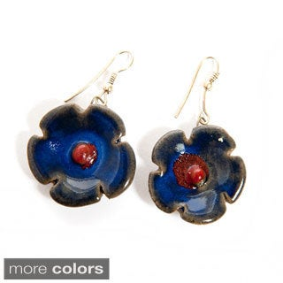 Hand-molded Ceramic Flower and Brass Hook Earrings (India)