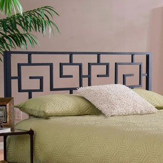 The Curated Nomad Alameda Greek Key Black Metal Headboard