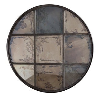 Handmade Round 9-pane Window Mirror (India)