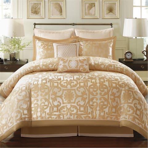 Madison Park Signature Carmichael Gold Jacquard 8-piece Charmeuse Comforter Set