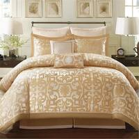 Madison Park Signature Carmichael Gold Jacquard 8-piece Charmeuse Comforter Set