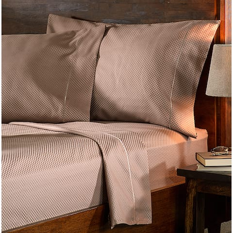 Superior 800 Thread Count Micro Checkered Cotton Blend Bed Sheet Set