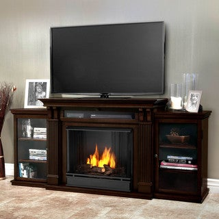 Real Flame Calie Dark Walnut 67 in. L x 18 in. D x 30.5 in. H Entertainment Center Gel Fireplace