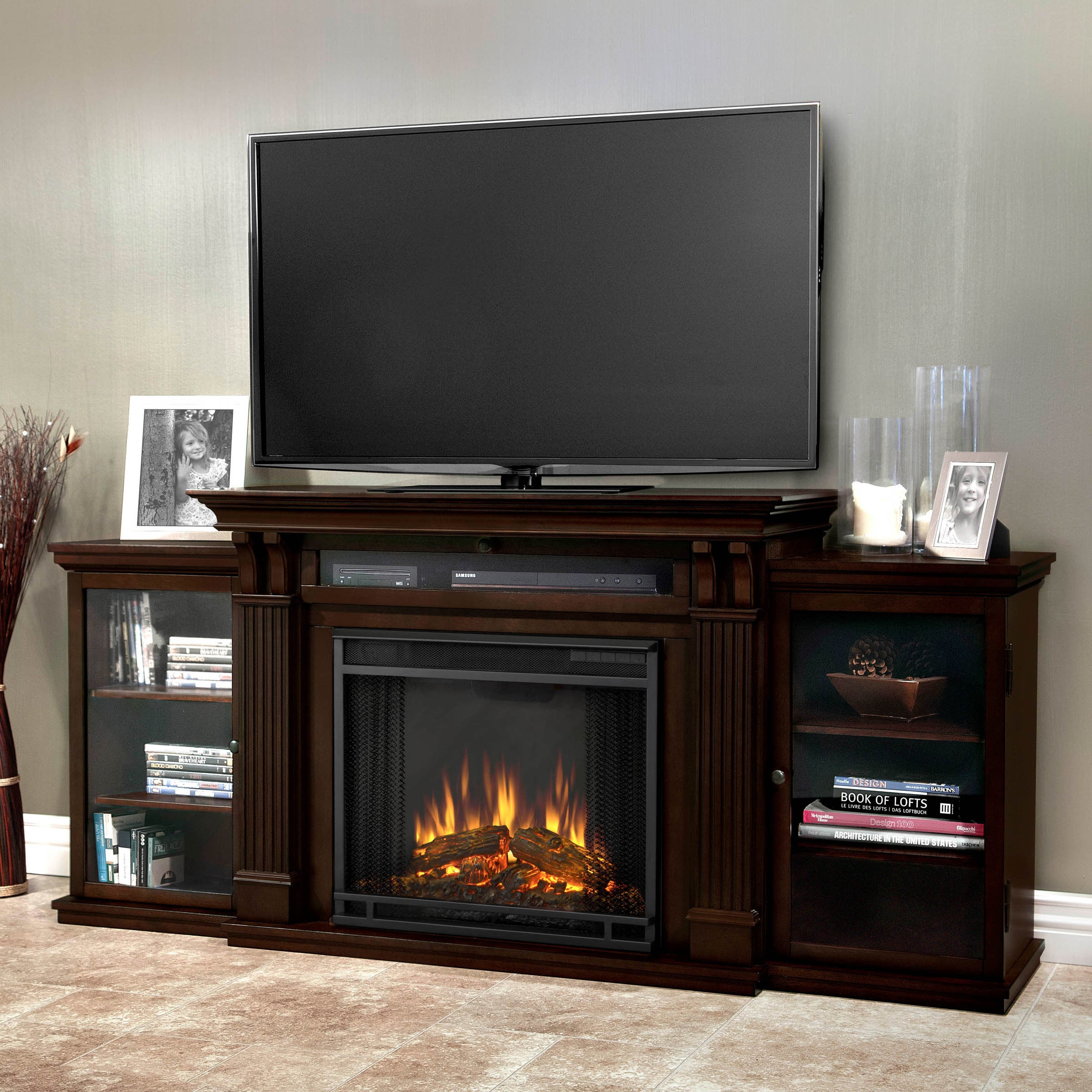 Shop Calie Media Electric Fireplace In Dark Walnut 67l X 18w X