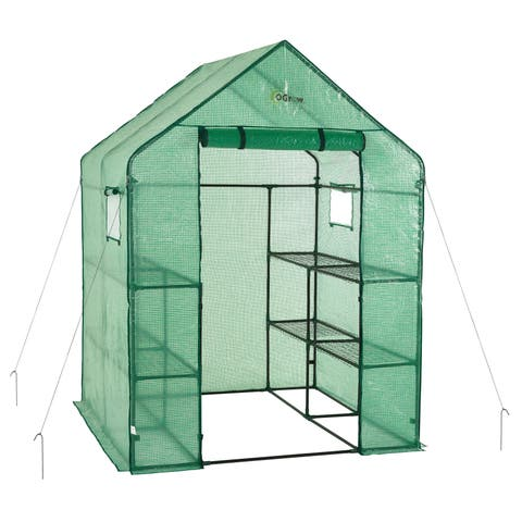 Ogrow Deluxe Walk-in 8-shelf Portable Lawn and Garden Greenhouse - Green