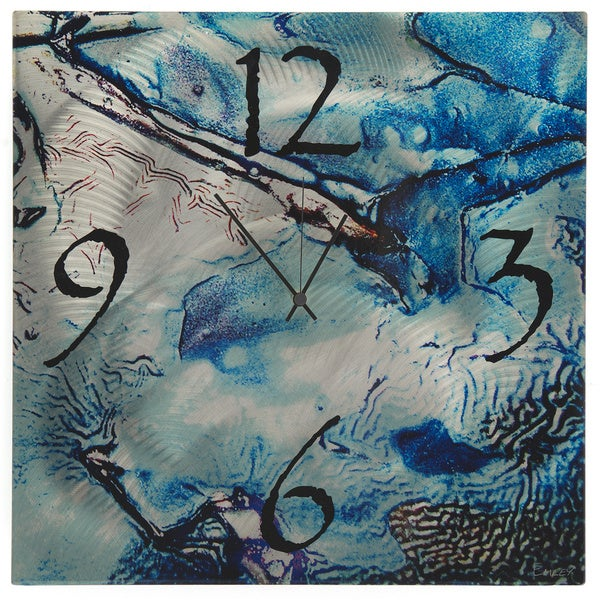 Cool Jazz Clock Blue/ Silver Abstract Faux-crinkled Texture Wall Clock