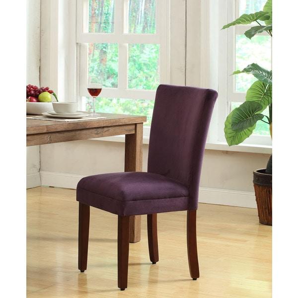 HomePop Rich Plum Aubergine Velvet Parsons Dining Chair Set Of 2 Free Shi