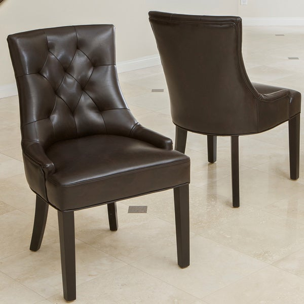 Hayden tufted brown leather dining chair set of 2 by for Tufted leather dining room chairs