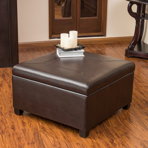 Sandra Brown Leather Storage Ottoman by Christopher Knight Home