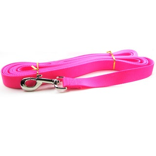 Hot Pink 20-foot Single Flat Nylon Dog Leash