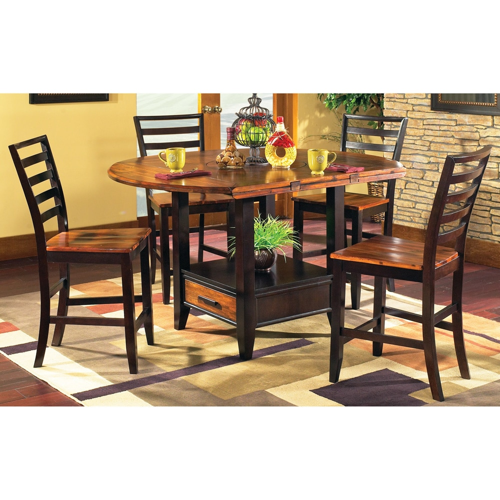 Acacia 5-piece Counter Height Lazy Susan and Storage Dini...
