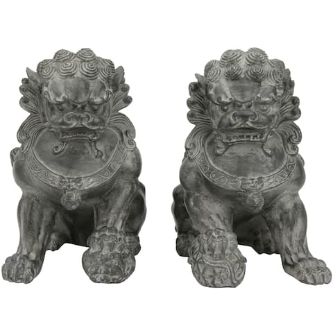 Set of 2 Handmade Sitting 9-inch Foo Dog Statues (China)